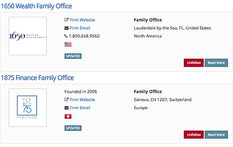 Dynamic filter family office search results in real time