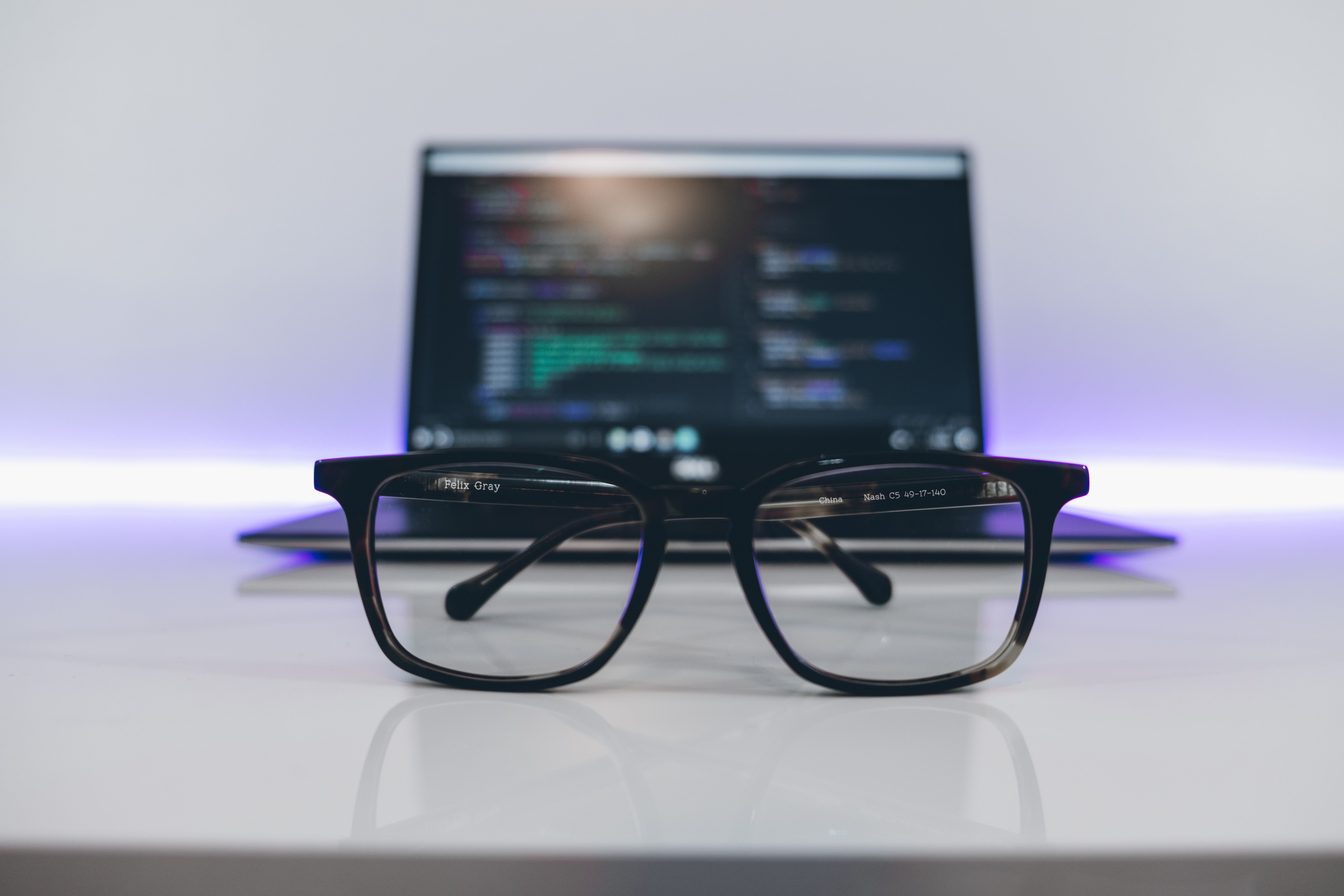 glasses and computer with data